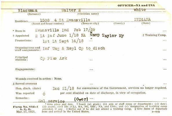 "Indiana WWI Service Record Cards, Army and Marine Last Names ""BLA - BLE"""
