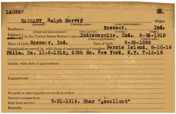 "Indiana WWI Service Record Cards, Army and Marine Last Names ""CAS - CED"""