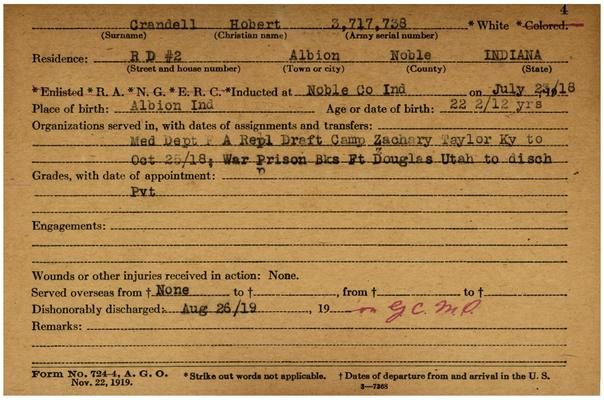 "Indiana WWI Service Record Cards, Army and Marine Last Names ""CRA-CRI"""