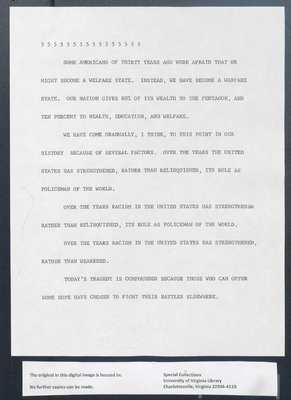 (Online Participant) Speech concerning the conditions of black people, September 1969