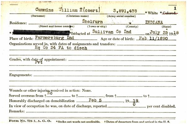 "Indiana WWI Service Record Cards, Army and Marine Last Names ""CSI - CZU"""