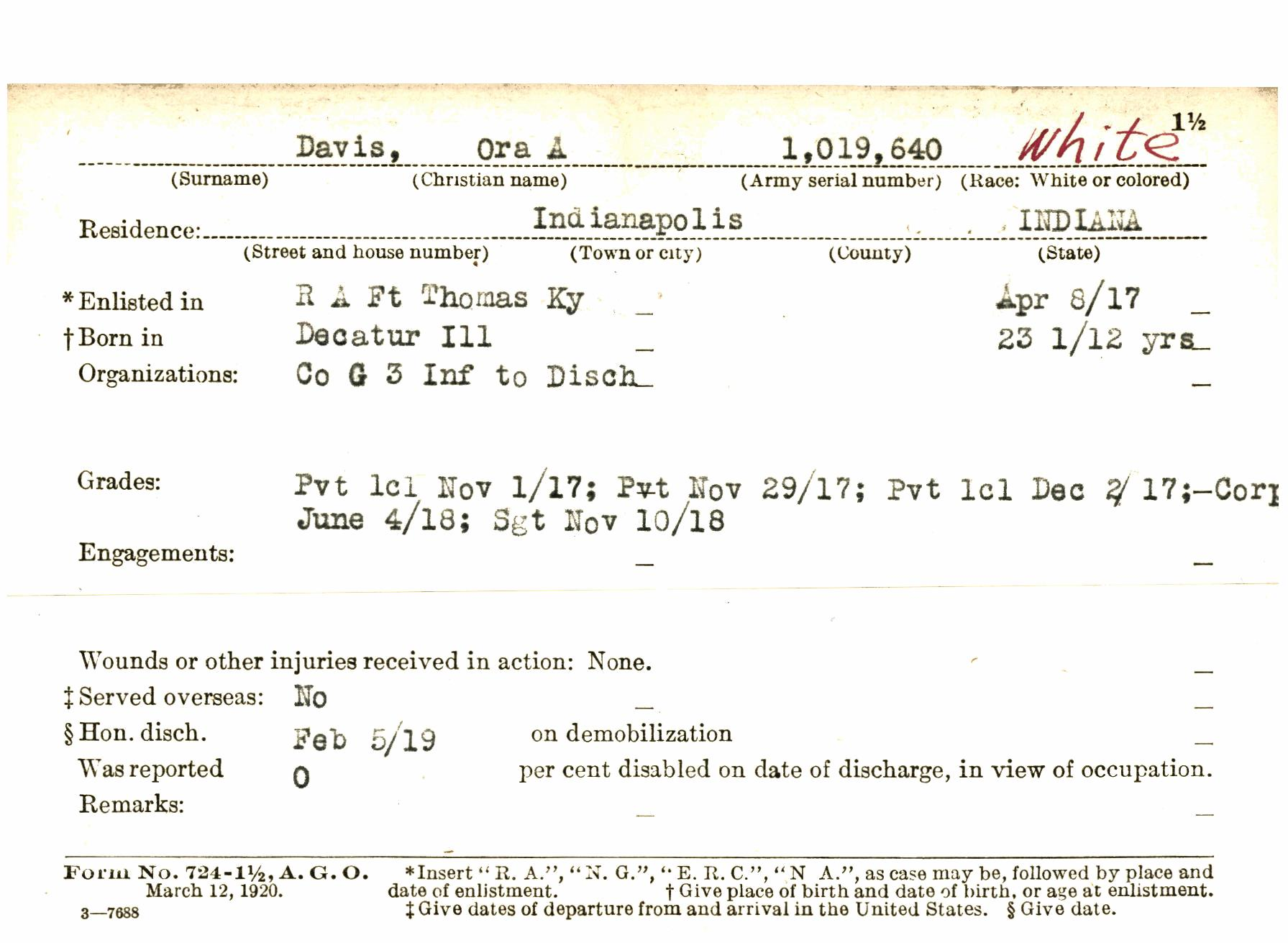 Wwid0001112 A Indiana World War I Service Record Cards Indiana Wwi