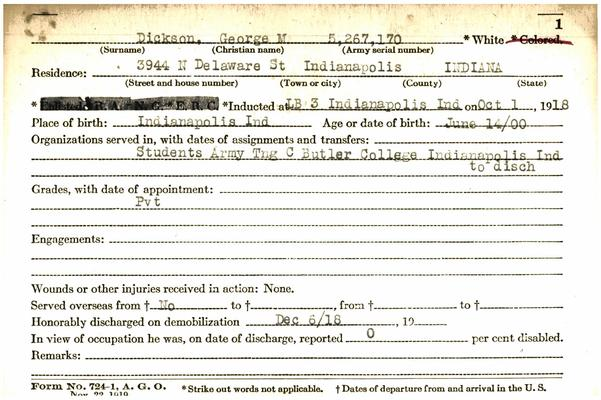 "Indiana WWI Service Record Cards, Army and Marine Last Names ""DHA - DIN"""