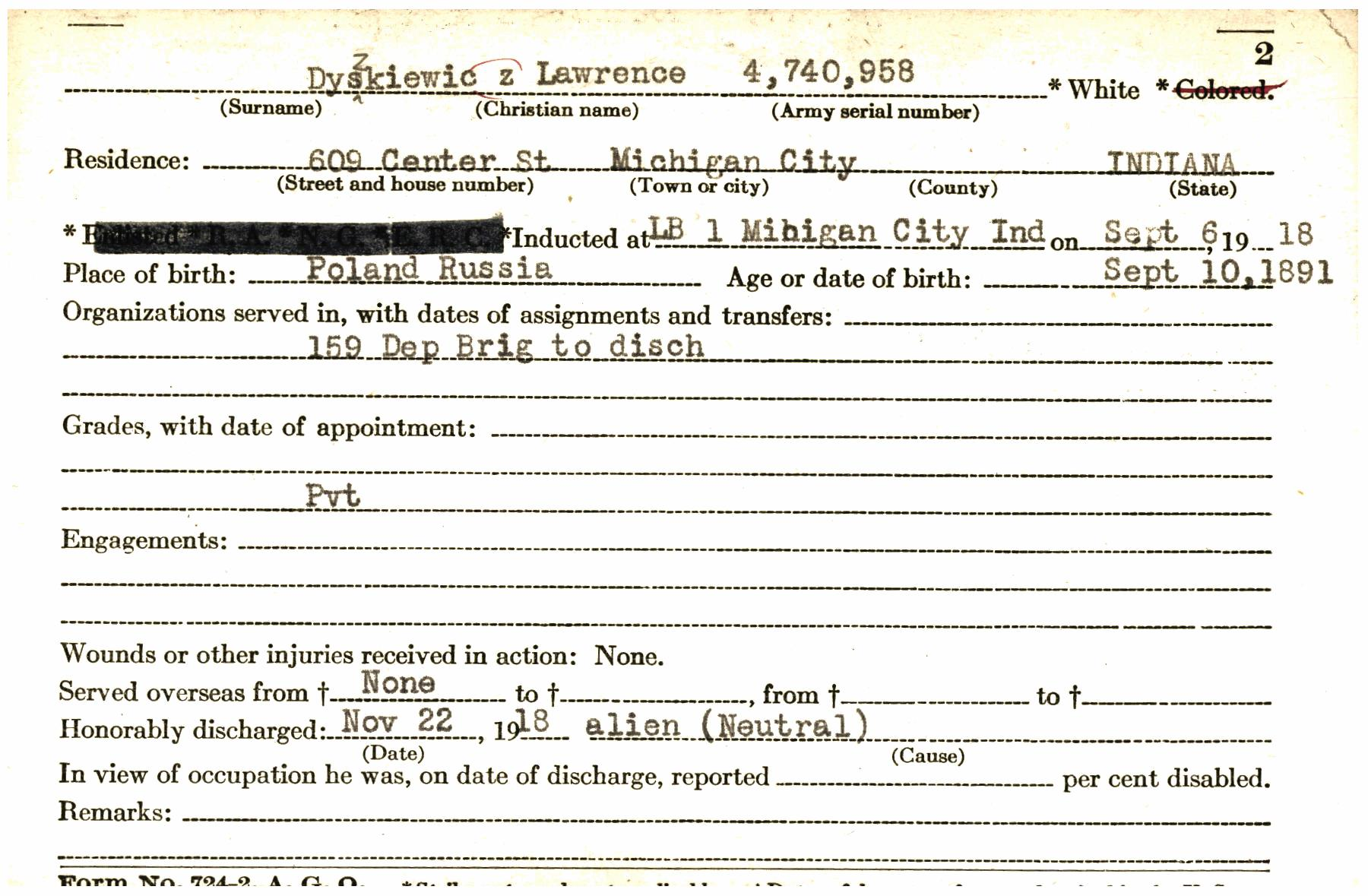 Transcribe - WWID0005420-A (Indiana World War I Service Record Cards