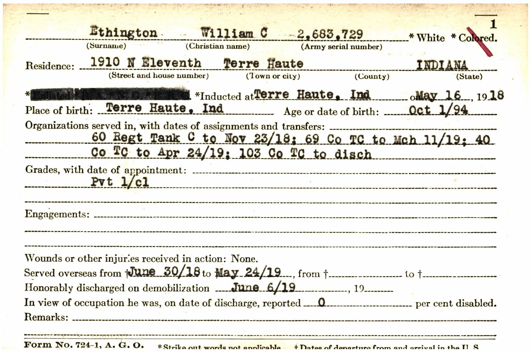 Transcribe Wwie0002123 A Indiana World War I Service Record Cards