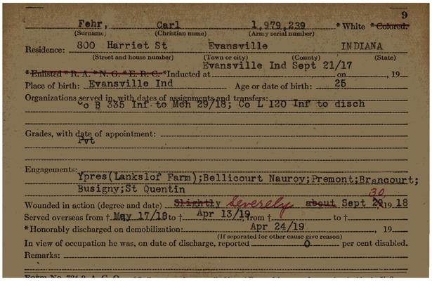 "Indiana WWI Service Record Cards, Army and Marine Last Names ""FAV - FER"""