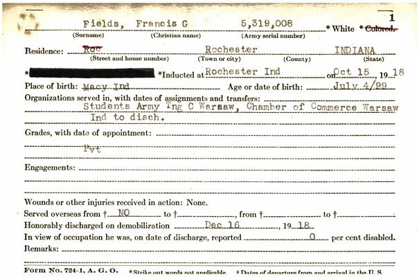 "Indiana WWI Service Record Cards, Army and Marine Last Names ""FES - FIR"""