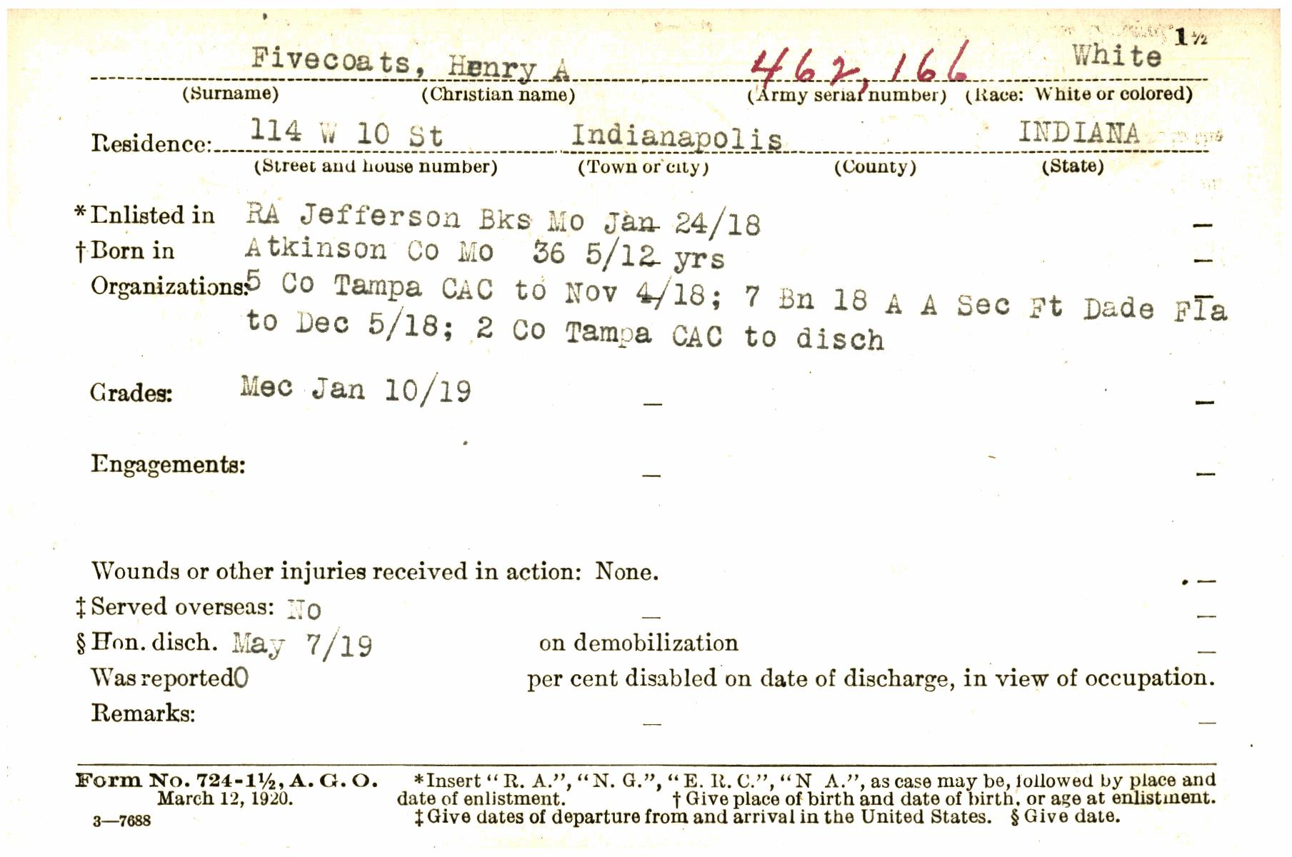 Transcribe Wwif0001889 A Indiana World War I Service Record Cards