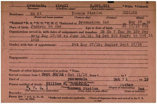 "Indiana WWI Service Record Cards, Army and Marine Last Names ""FOU - FOY"""
