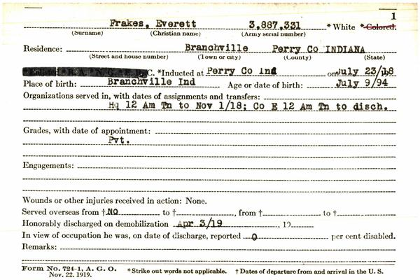 "Indiana WWI Service Record Cards, Army and Marine Last Names ""FRA"""