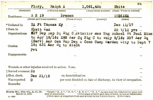 "Indiana WWI Service Record Cards, Army and Marine Last Names ""FLI - FOO"""