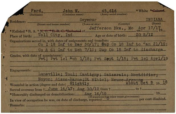 "Indiana WWI Service Record Cards, Army and Marine Last Names ""FOR - FOT"""