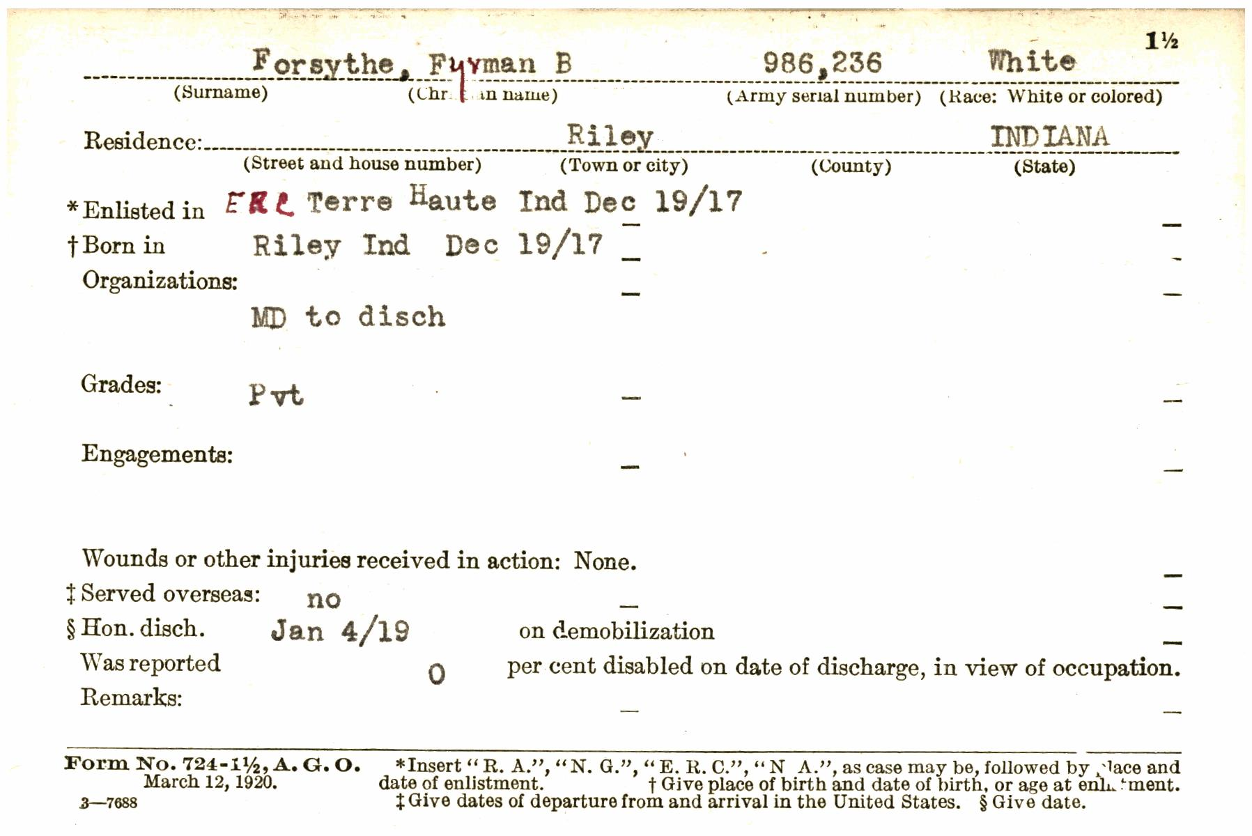Transcribe Wwif0002736 A Indiana World War I Service Record Cards
