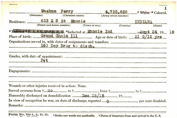 "Indiana WWI Service Record Cards, Army and Marine Last Names ""WAS - WEA"""