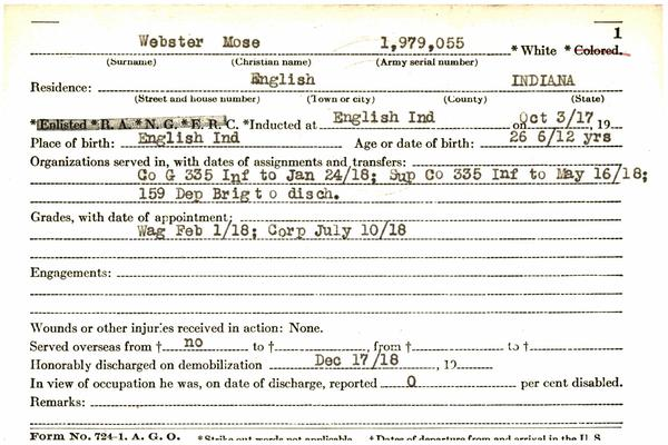 "Indiana WWI Service Record Cards, Army and Marine Last Names ""WEB - WEI"""