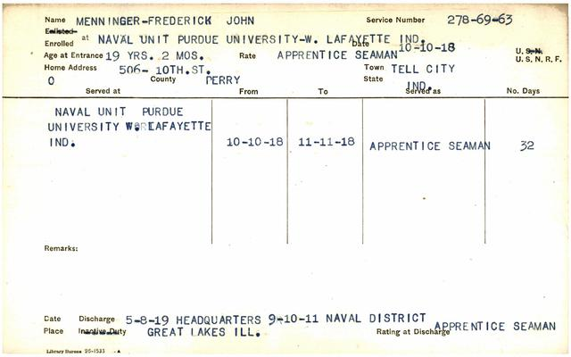 "Indiana WWI Service Record Cards, Navy Last Names ""MAT-MYR"""