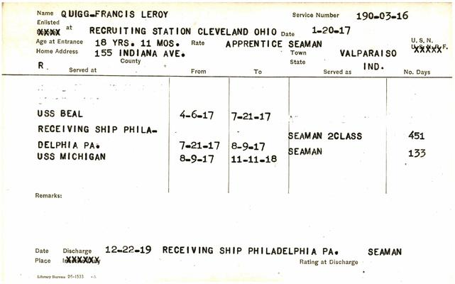 "Indiana WWI Service Record Cards, Navy Last Names ""QUA - QUI"""
