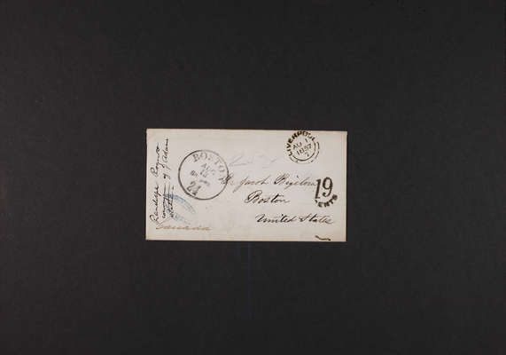 Adams Statue: Envelope, Randolph Rogers to Dr. Jacob Bigelow, 1857 August