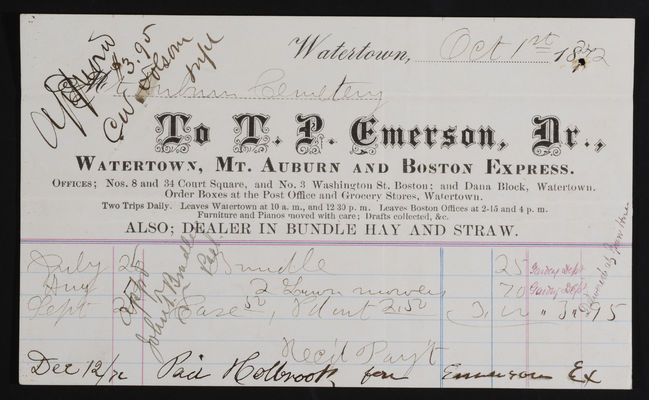 AAA_Horticulture Invoice: T. P. Emerson, 1872 October 1