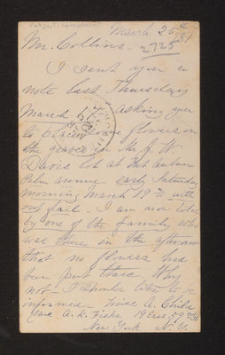 "AAA_Letter: [Louise] A. Child to Mr. Collins, Gardener, 1881 March 25, ""complaint"""
