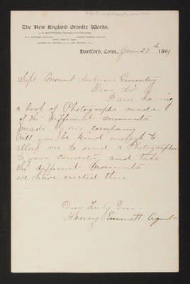 "AAA_Letter: Henry Emmett, Agent for New England Granite Works to Superintendent, 1891 June 27, ""no photography permitted"""