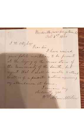 Vault Early Papers of the University Box 1 Document 24 Folder 1860 Cornerstone Ceremony 1