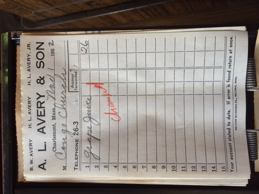 Avery's General Store Receipt for Congregational Church